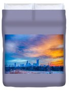 Charlotte The Queen City Skyline At Sunrise Duvet Cover