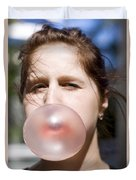 Chewing Gum Lady Duvet Cover