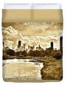 Chicago In Sepia Duvet Cover