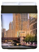 Chicago River Reflections Duvet Cover