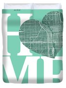 Chicago Street Map Home Heart - Chicago Illinois Road Map In A H Duvet Cover
