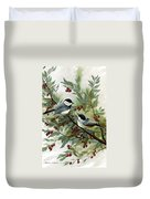 Chickadees And Cherries Duvet Cover
