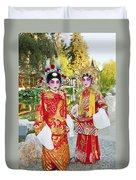Children Dressed In Full Traditional Chinese Opera Costumes. Duvet Cover