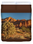 Cholla Cactus And Red Rocks At Sunrise Duvet Cover
