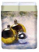 Christmas Balls Artistic Vintage Painting Duvet Cover