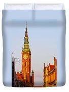 City Hall In Gdansk Duvet Cover
