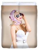 Classical Pinup Girl Posing In Retro Fashion Style Duvet Cover