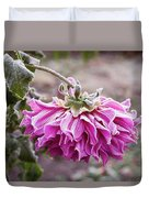 Close-up Of Flowers Covered By Frost Duvet Cover