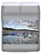 Cloudy Morning - Lyme Regis Harbour Duvet Cover