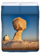 Cock And Mushroom Formation In White Desert Duvet Cover