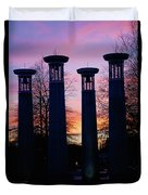 Colonnade In A Park At Sunset, 95 Bell Duvet Cover
