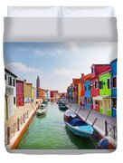 Colorful Houses And Canal On Burano Island Near Venice Italy Duvet Cover