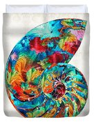 Colorful Nautilus Shell By Sharon Cummings Duvet Cover