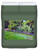 Colorful Park With Flowers Duvet Cover
