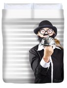 Comic Business Man Holding Big Service Bell Duvet Cover