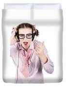 Cool Music Nerd Rocking Out To Metal On Headphones Duvet Cover