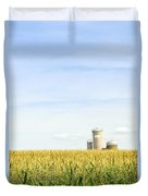 Corn Field With Silos Duvet Cover by Elena Elisseeva