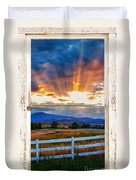 Country Beams Of Light Barn Picture Window Portrait View  Duvet Cover