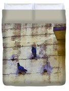 Couple Of Pigeons On A Wall Duvet Cover