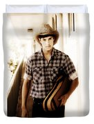 Cowboy Carrying Guitar Duvet Cover