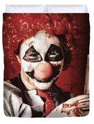 Crazy Medical Clown Holding Oversized Syringe Duvet Cover