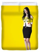 Creepy Homicide Girl Standing Undead On Yellow Duvet Cover