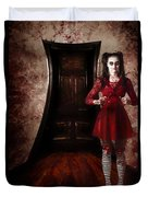 Creepy Woman With Bloody Scissors In Haunted House Duvet Cover