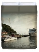 Cruise Ship At Port, Kingstown, Saint Duvet Cover