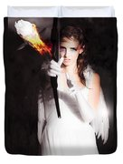 Cupid Angel Of Romance Setting Hearts On Fire Duvet Cover