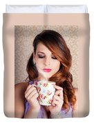 Cute Brunette Woman Drinking Hot Coffee Indoors Duvet Cover