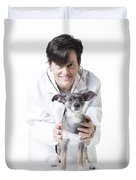 Cute Little Dog At The Vet Duvet Cover by Edward Fielding