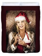 Cute Vintage Housewife Cooking Christmas Meal Duvet Cover