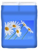 Daisy Flowers On Blue Background Duvet Cover