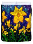 Dancing Daffodils Cropped  Duvet Cover