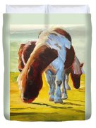 Dartmoor Ponies Painting Duvet Cover