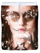 Day Of The Dead Girl Blowing Party Bubbles Duvet Cover