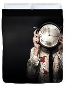 Dead Business Person Holding End Of Time Clock Duvet Cover