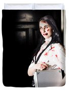 Dead Female Zombie Worker Holding Briefcase Duvet Cover