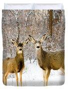 Deer In The Snowy Woods Duvet Cover