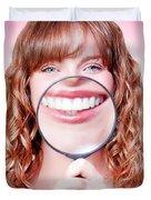 Dentist Showing White Teeth In A Dental Checkup Duvet Cover