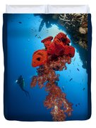 Diver Looks On At A Bright Red Soft Duvet Cover