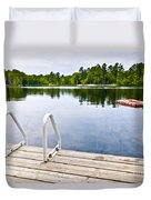 Dock On Calm Lake In Cottage Country Duvet Cover