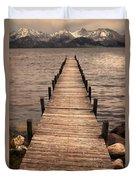 Dock On Mountain Lake Duvet Cover