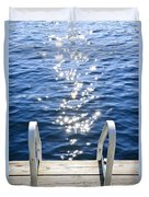 Dock On Summer Lake With Sparkling Water Duvet Cover