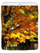 Door County Yellow Maple Migrant Shack Duvet Cover