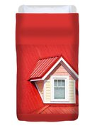 Dormer Window On Red Roof Duvet Cover