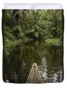 Dugout Canoe In Blackwater Stream Duvet Cover