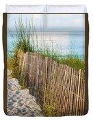 Dune Fence On Beach  Duvet Cover