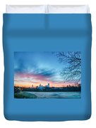 Early Morning Sunrise Over Charlotte City Skyline Downtown Duvet Cover
