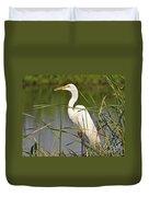 Egret In The Cattails Duvet Cover